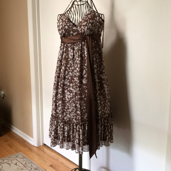 Max & Cleo Dresses & Skirts - Coco brown and white Spaghetti strap dress